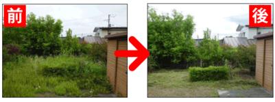 庭の草刈作業前と作業完了時比較写真